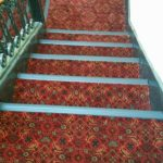 Stair Tread Rugs with Transitional Staircase and  Traditoinal  Maroon Rug  Elegant  Red Patterned Rug  Abstract Patterned Rug