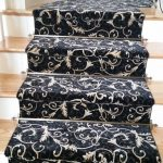 Stair Tread Rugs with Transitional Staircase and  Wool     Natural  Floral Design  Black Floral Rug  Black Patterned Rugs
