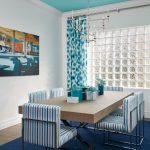 Standard Rug Sizes with Beach Style Dining Room and  Retro Painting  Blue and White  Orange  Teal  Centerpiece