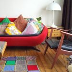 T Shirt Rug with Eclectic Living Room and  Color  Quilt  Leather Side Chair  Art  Demijohn