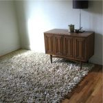 T Shirt Rug with Modern Spaces and  Talking Squid  White     Shaggy Rug  Recycled Tshirt Rug  Large Rug for Living Room