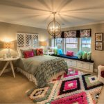 T Shirt Rug with Traditional Bedroom and  Pink  Gray Walls  Colorful Area Rug  White Cabinets  Round White Table