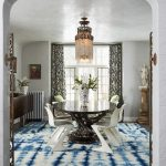 Target Area Rugs with Contemporary Dining Room and  Venetian Plaster Walls     Blue and White Rug  Shibori Area Rug  Shibori  Patterned Drapery