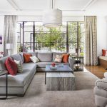 Target Area Rugs with Contemporary Living Room and  Red  Steel Doors  Warm Accents     Orange  Gray