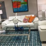 Teal Area Rugs with Modern Living Room and  Teal Patterned Area Rug  White Leather Sofa     Off White Leather Sofa  Blue Patterned Area Rug  Glass Coffee Table