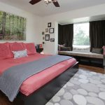 The Dump Rugs with Transitional Bedroom and  Window Nook     Gray Rug  Nature Photography  Red Bedding  Contemporary