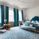 The Rug Company with Contemporary Bedroom and  Luxury  Blue Headboard  Blue  Headboards  Cornice
