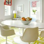 The Rug Company with Contemporary Dining Room and  Colorful Roman Shade  Gray Wall  Roman Shade  Yellow Table Lamp     Yellow Patterned Rug