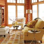 The Rug Company with Contemporary Living Room and  Lake House  Modern Traditional  Cream Upholstered Armchair  Sofa  Stone Fireplace