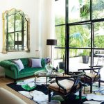 The Rug Company with Contemporary Living Room and  Modern Asian     Green and Black  Green Sofa  Golden Mirror  Large Windows