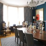 The Rug Company with Victorian Dining Room and  Herringbone Wood Floor  Dining Room  Chandelier  Hampstead Dining Room  Dark Blue Walls