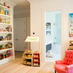 The Rug Market with Contemporary Kids and  Built in Shelves  Pink Chair  Striped Floor     Kids Chair