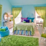 The Rug Market with Traditional Kids and  Striped Bedskirt  Bright Colors  Wood Nightstand     Green Printed Rapes  Iron Bed Frame