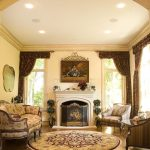 Traditional Area Rugs with Traditional Living Room and  Circular Area Rug  Traditional Fireplace Screen  Floral Couch  Arch Ceiling  Fireplace Art