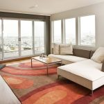 Tropical Area Rugs with Contemporary Family Room and  Neutral Colors  Area Rug  Glass Doors  View  Technicolor Rug