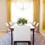 Walmart Area Rugs with Eclectic Dining Room and  Wood Dining Table  Orb Chandelier  Host Chair  Gray Area Rug  Ghost Chairs