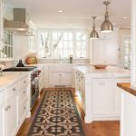 Washable Kitchen Rugs with Traditional Kitchen and  White Countertop  Floor Pattern  Wood Countertop     Pendant Light  Recessed Lighting