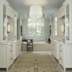 What is Rugged Individualism with Contemporary Bathroom and  Ceiling Lighting  Soaking Tub  Bathroom Rug  Area Rug  White Wood