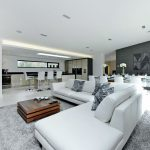 White Shag Area Rug with Contemporary Living Room and  Spacious Living Area  Open Plan Living  White Living Area     Grey Feature Wall  Shag Area Rug