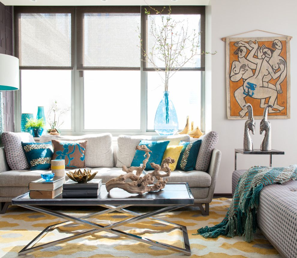 Yellow Area Rugs with Contemporary Living Room and Blue Accents ...