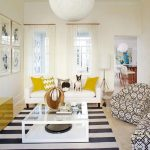 Yellow Chevron Rug with Beach Style Living Room and  White Wall  Pendant Lighting  Yellow Accents  Bar  Tile Floor