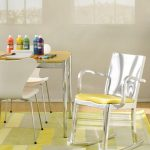Yellow Chevron Rug with Contemporary Kids and  Jute Rug  Geometric Rug  Rocking Chair  Emeco Rocker  Eat in Kitchen