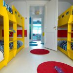 Yellow Chevron Rug with Modern Kids and  Color  Round Rug  Red  Children's Bedroom  Yellow Bunk Bed