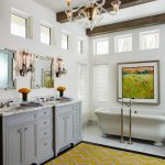 Yellow Chevron Rug with Traditional Bathroom and  Wood Ceiling Beams  Square Windows  Glass Chandelier  		Clerestory Windows  High Ceilings