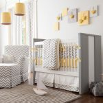 Yellow Chevron Rug with Transitional Nursery and  Drum Shade  Curtain Panels  White Walls  Ideas for Baby Boy Nursery  Hearts
