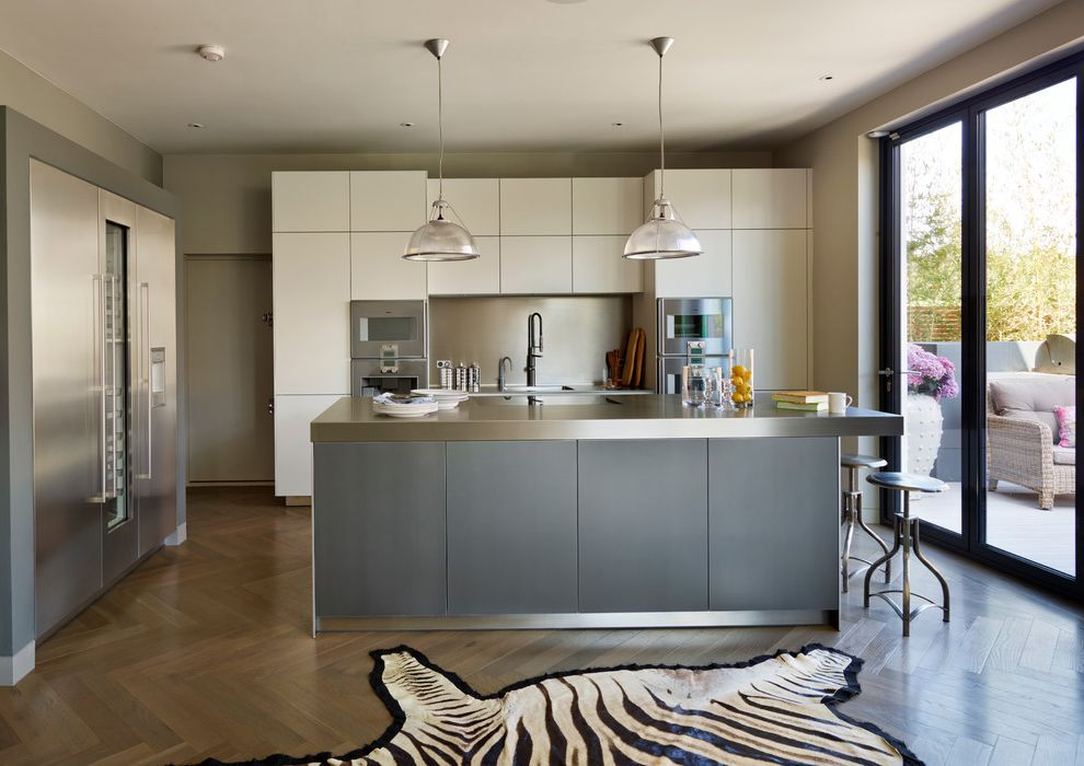 Zebra Hide Rug with Contemporary Kitchen and 2-Tone Kitchen ...