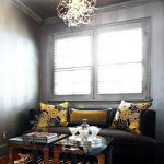Zebra Skin Rug with Contemporary Living Room and  Modern Light Fixture  Painted Ceiling  Crown Molding  Window Sheers  Decorative Pillows