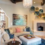 Zebra Skin Rug with Mediterranean Living Room and  Wood Beams     Coral  Relaxed  Navy  Horse Sculpture